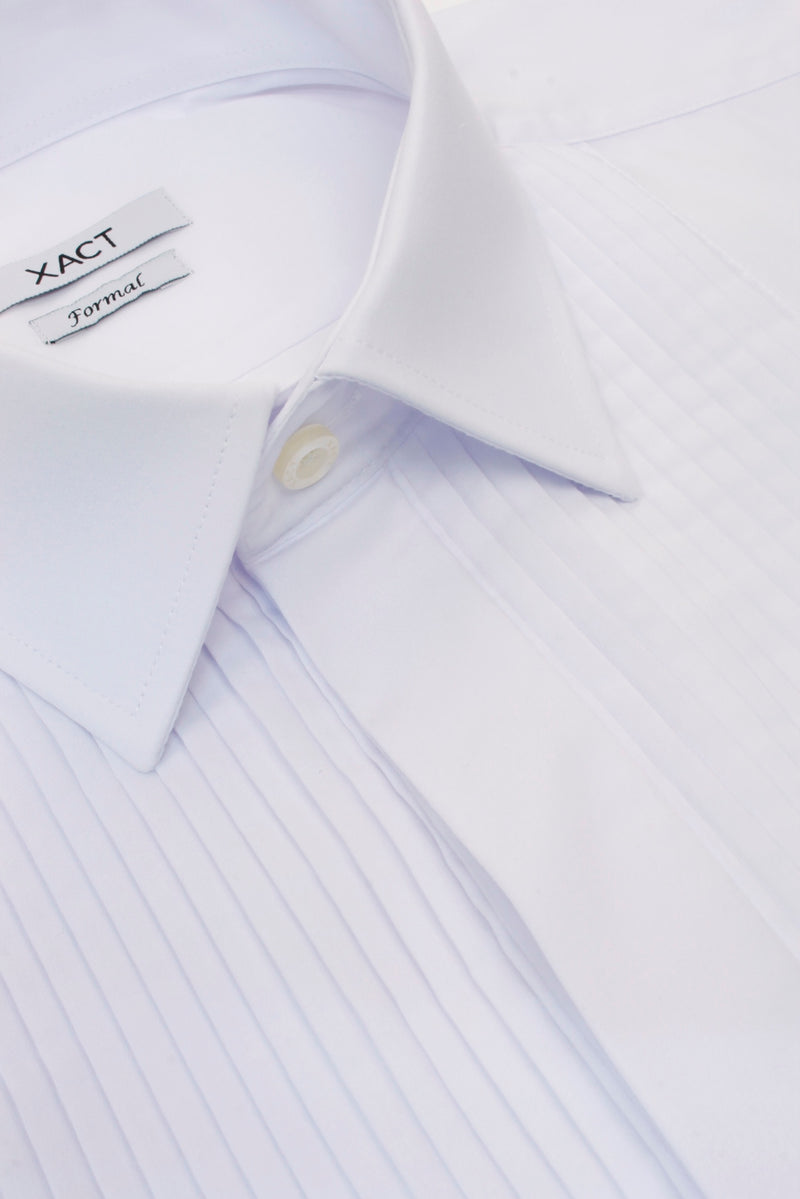 Xact Men's Formal Tuxedo/ Dress Shirt with Double Cuff and Cuff Links, 06, Xsh1110, #colour_White - Standard Collar - Pleated Fly Front