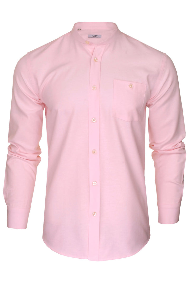 Xact Mens Grandad Collar Nehru Oxford Shirt 'Gustus' Long Sleeved, 01, Xsh1023, #colour_Soft Pink