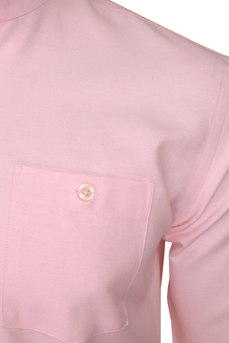 Xact Mens Grandad Collar Nehru Oxford Shirt 'Gustus' Long Sleeved, 02, Xsh1023, #colour_Soft Pink