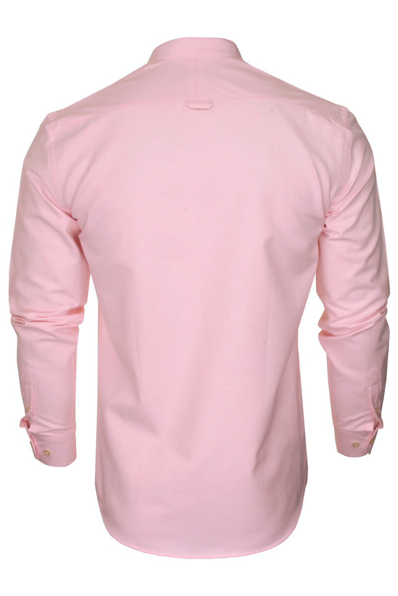 Xact Mens Grandad Collar Nehru Oxford Shirt 'Gustus' Long Sleeved, 03, Xsh1023, #colour_Soft Pink