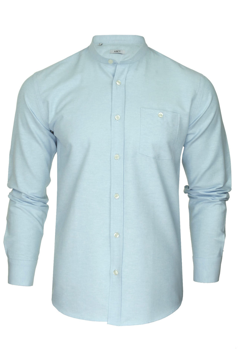Xact Mens Grandad Collar Nehru Oxford Shirt 'Gustus' Long Sleeved, 01, Xsh1023, #colour_Riviera