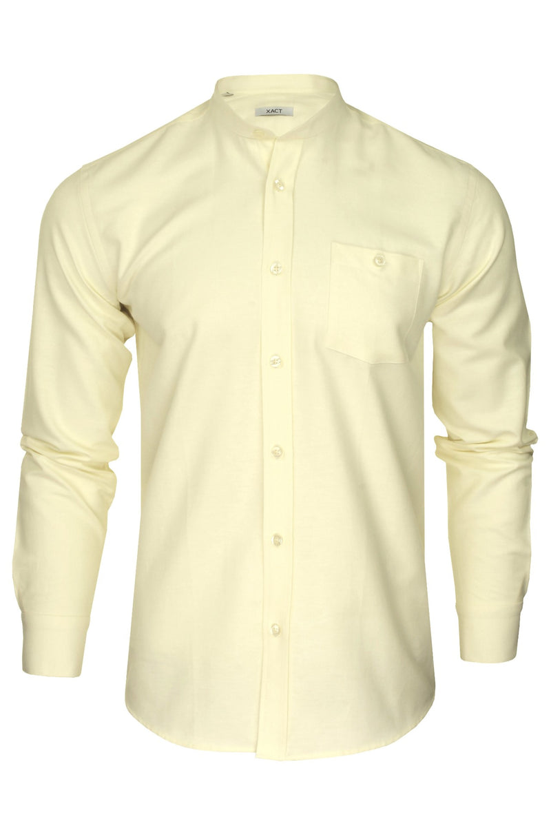Xact Mens Grandad Collar Nehru Oxford Shirt 'Gustus' Long Sleeved, 01, Xsh1023, #colour_Yellow