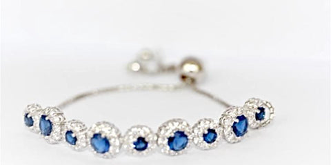 """Tanzanite and Diamond"" Slider Tennis Bracelet"