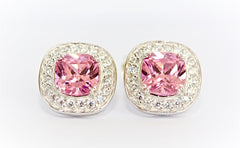 "Square-Cut Pink ""Diamond"" Stud Earrings"