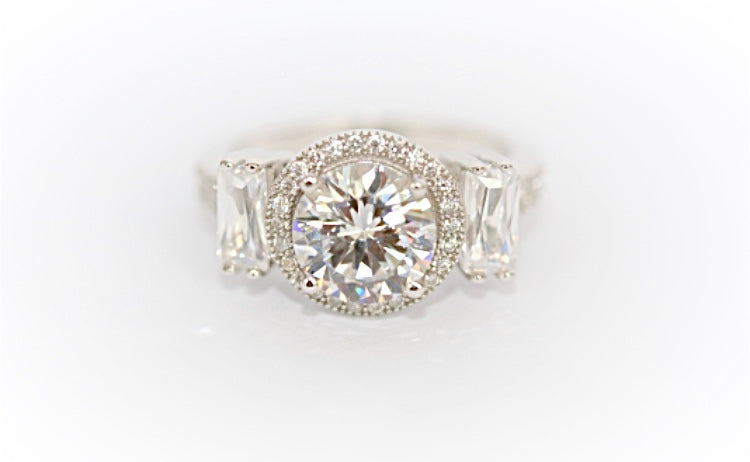 "Round and Emerald-Cut ""Diamond"" Ring"