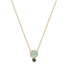 Two Round Stones Gold Necklace