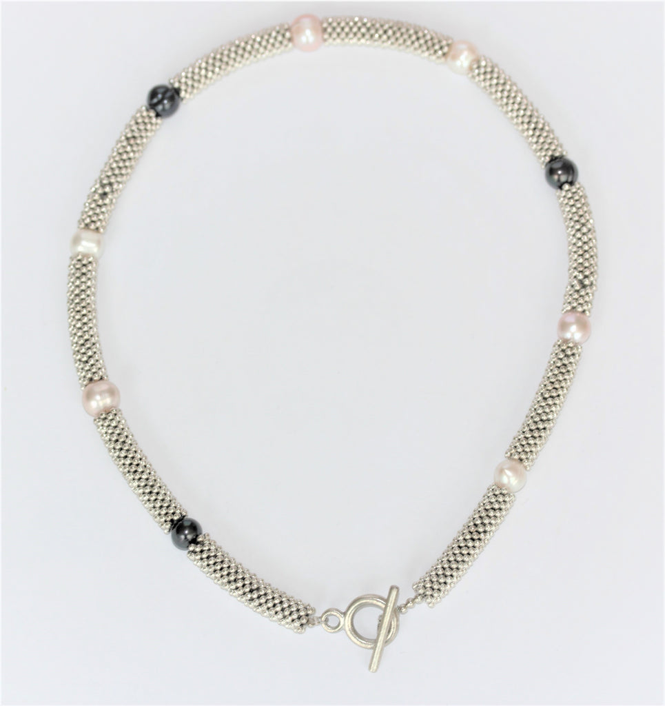 Navy, White and Pink Pearl Snake T-Bar Necklace