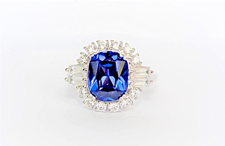 """Tanzanite and Diamond"" Antique Style Ring"