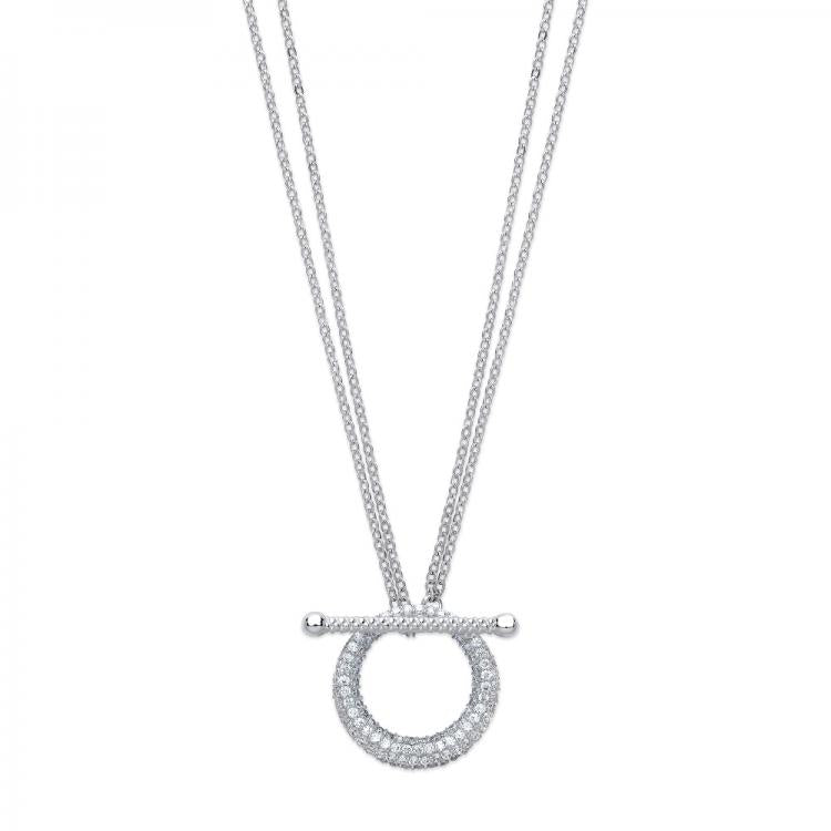 Cz Circle of Life T Bar Necklace