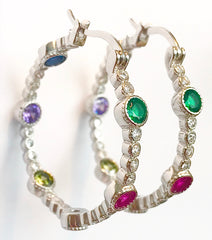"Large Gemstone & ""Diamond"" Hoop Earrings"