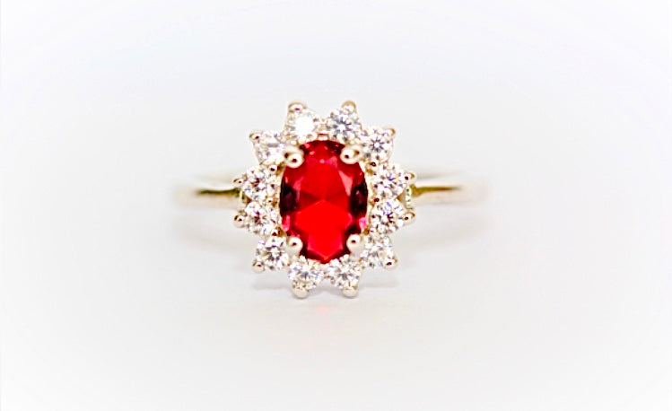 """Ruby and Diamond"" Cluster Ring"