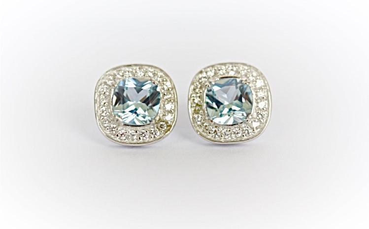 "Square-Cut ""Aquamarine"" Stud Earrings"