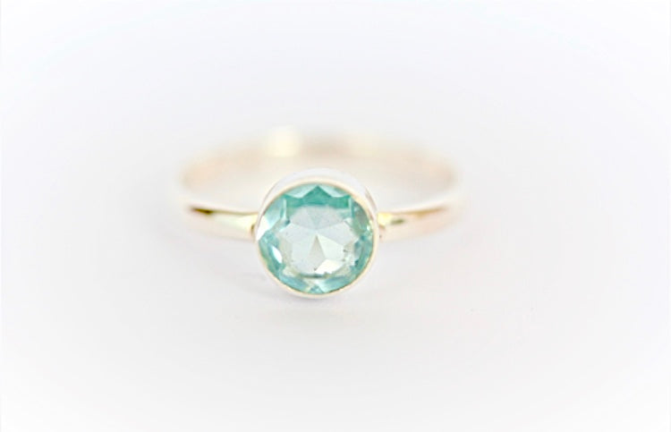 Blue Topaz Rubover Solitaire Ring