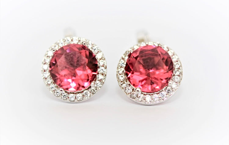 """Ruby and Diamond"" Halo Clip On Earrings"