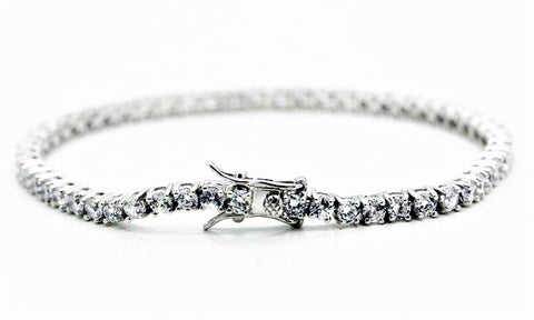 "3mm Square Cut ""Diamond"" Tennis Bracelet"