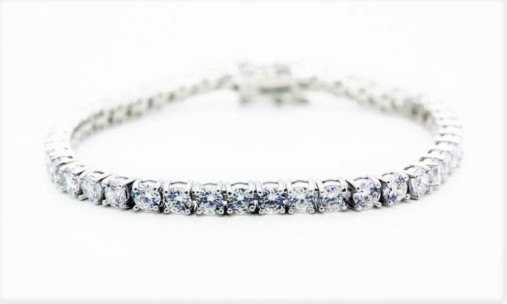 "4mm Round Cut ""Diamond"" Tennis Bracelet"