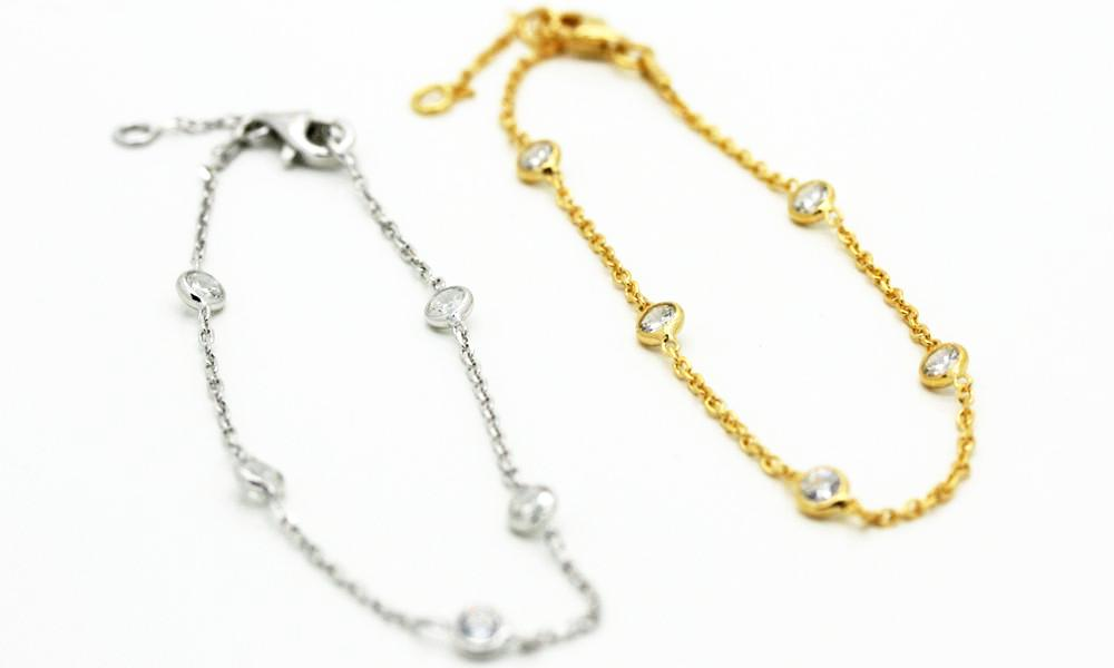 """Diamonds"" by the Yard Gold or Silver Bracelets"