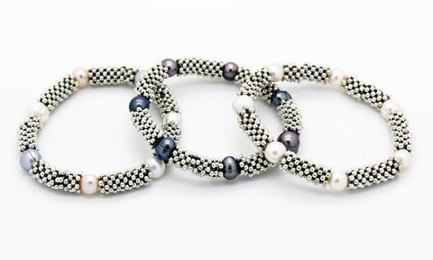 """Links"" style Silver and Pearl ""Serpent""and ""Snake"" Bracelet"