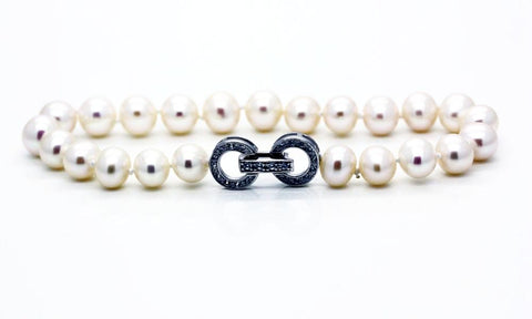 "Pearl and ""Diamond"" Clasp Bracelet"