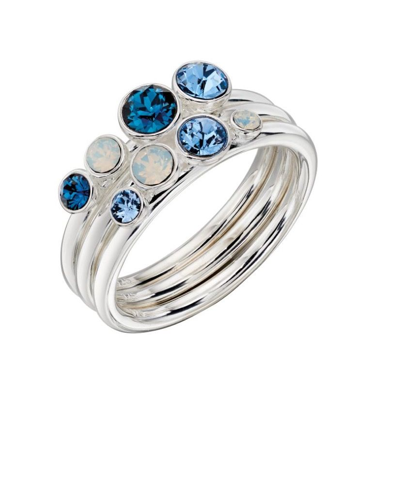 Blue Sparkle Stacking Rings