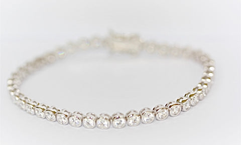 "Round 3mm Rubover ""Diamond"" Tennis Bracelet"