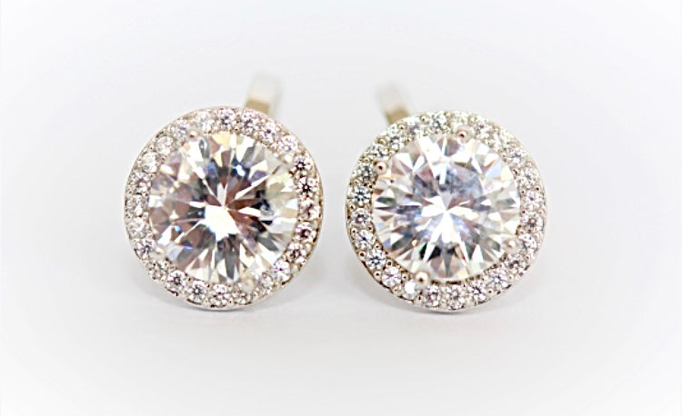 """Diamond"" Halo Clip On Earrings"
