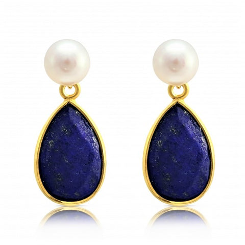 White Button Pearl and Lapis Drop Earrings