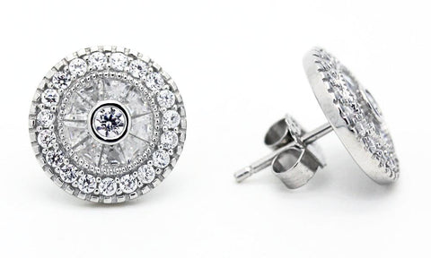 "Victorian-Style Concentric ""Diamond"" Earrings"