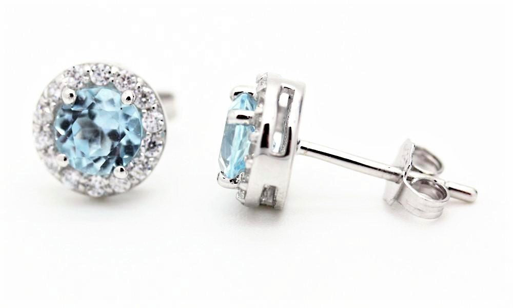 Blue Topaz Halo Stud Earrings