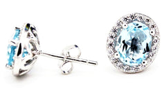 Large Blue Topaz Halo Stud Earrings