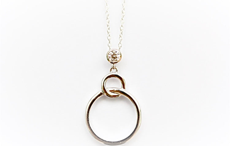 "One ""Diamond"" Two Circles Necklace"