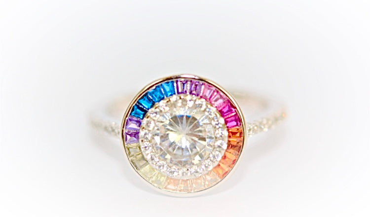 Multi-Coloured Gemstone Ring