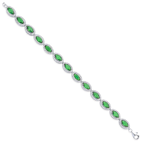 Emerald Green Marquise Cut CZs Ladies Bracelet