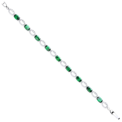 """Emerald and Diamond"" Oval Cut Tennis Bracelet"