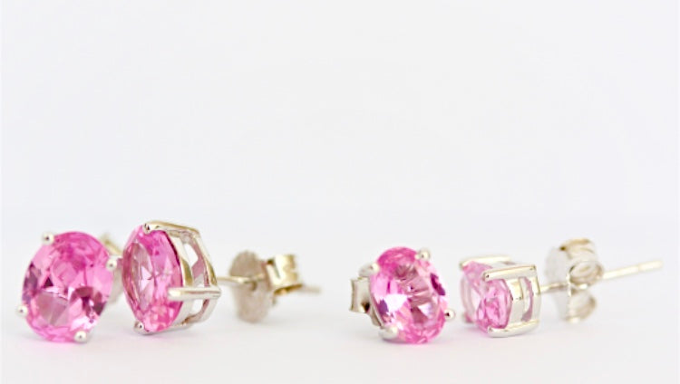 Pink Gemstone Large or Small Oval Stud Earrings