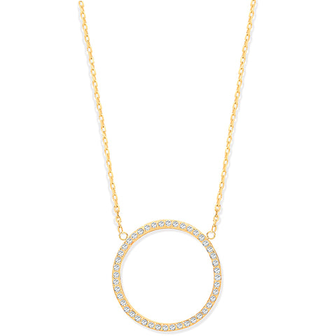 Solid Gold Eternity Circle Necklace
