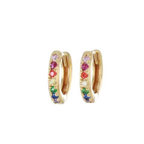 Multi-Coloured Stone Gold & Silver Huggie Hoop Earrings