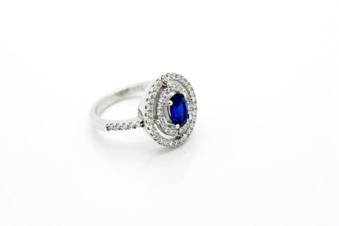"""Sapphire"" Blue Double Halo CZ Ring"