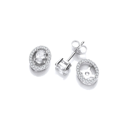 Detachable Oval Halo Studs
