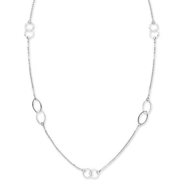 Long Fancy Silver Designer Style Necklace