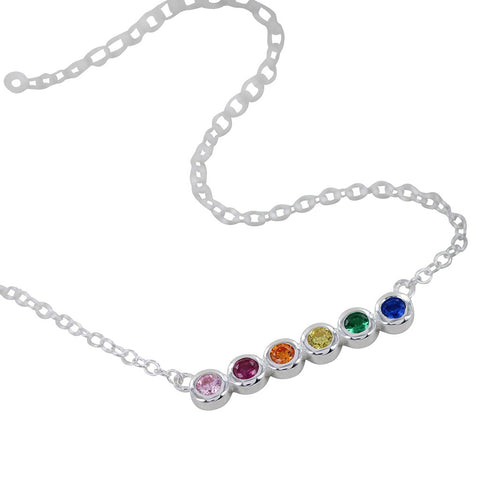 Multi Coloured Stone Silver Necklace