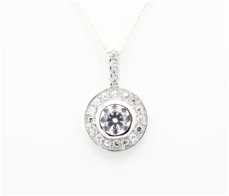 "Round ""Diamond"" Cluster Drop Necklace"