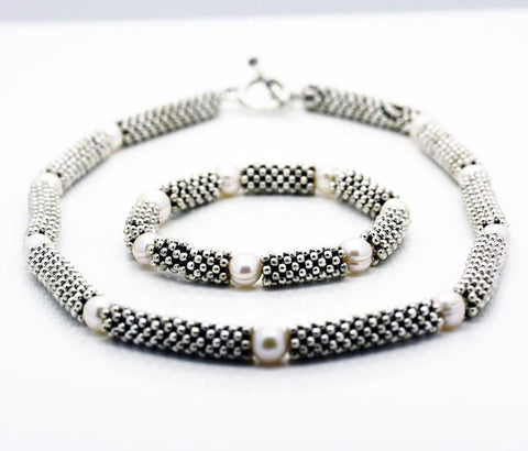 """Links"" style Silver and Pearl Single and Multiple Serpent  Necklaces"