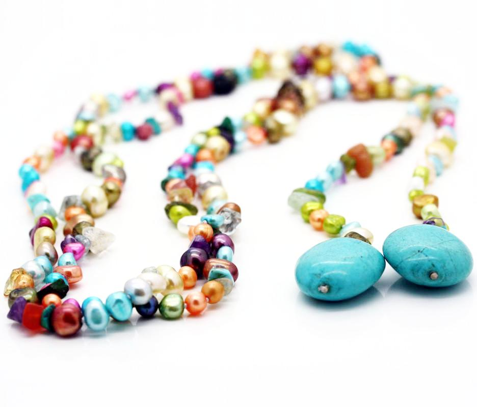 The Fifi Multi-Coloured Lariat Necklace
