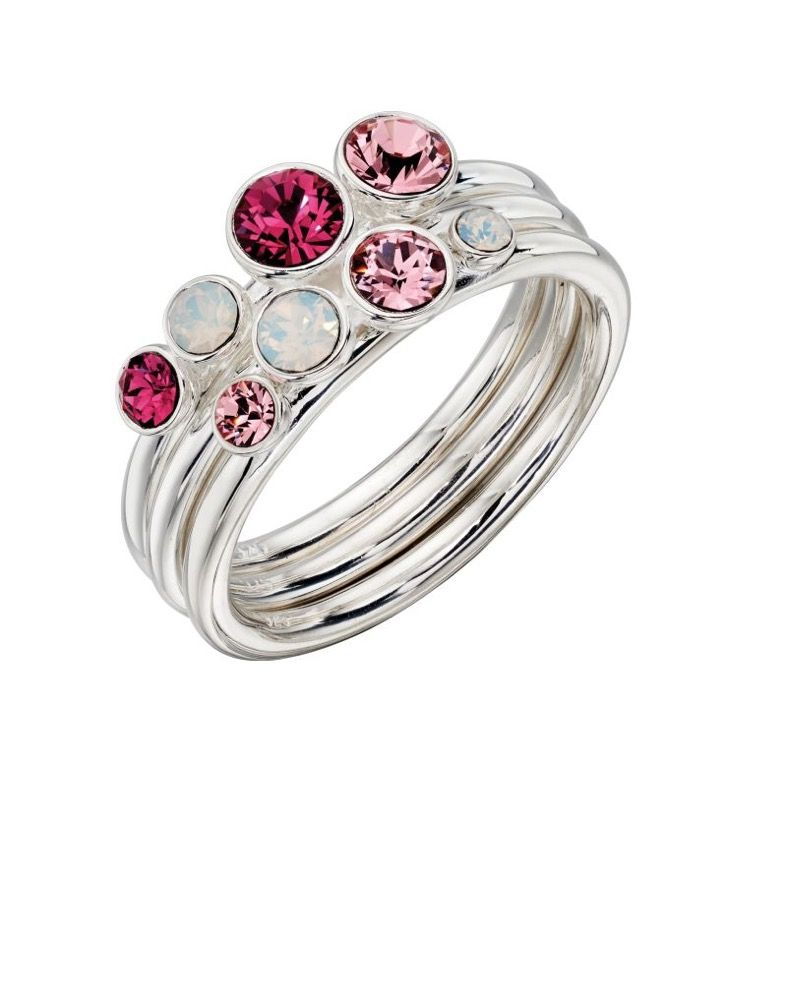 Pink Sparkle Stacking Rings