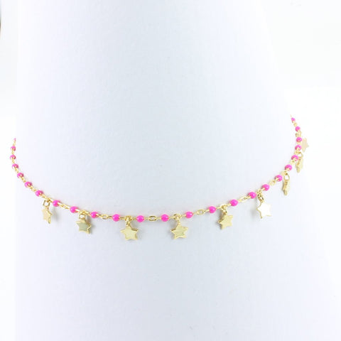 Pink Starry Gold or Silver Bracelet
