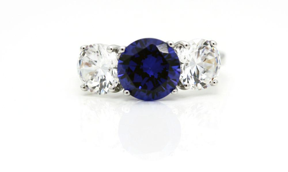 "Classic Victorian Style ""Tanzanite"" and Faux Diamond Ring"