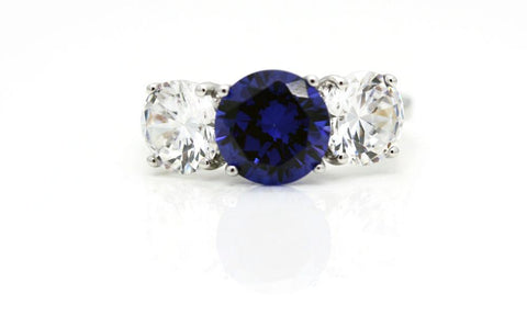 "Classic Victorian Style ""Sapphire"" and Faux Diamond Ring"