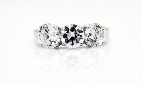 "Classic 3 Stone Engagement ""Diamond"" Ring"