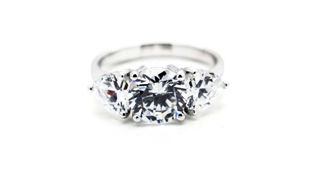"Trilogy Ring with Pear Shaped ""Diamonds"""